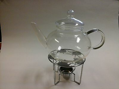 Glass Teapot on Silver Warming Stand
