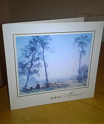 """1960s QANTAS Menu Card """"Morning in the Clearing"""" by Elioth Gruner"""