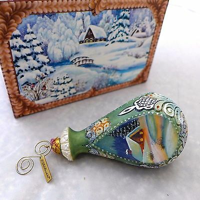 G. DeBrekht Holiday Christmas Ornament Hand Painted Cottage Theme Russia $40