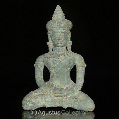 RARE Ancient KHMER Bronze Statue of the BUDDHA 12th Cent. Angkor Period Cambodia