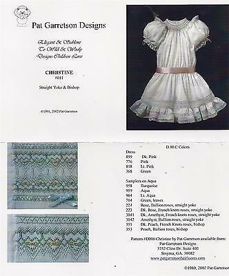 Pat Garretson Smocking Plate Pattern 'christine #011' Straight Yoke & Bishop