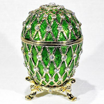 2.5'' Easter Enameled Green Egg Trinket Box Trellis Russian  Faberge Traditions