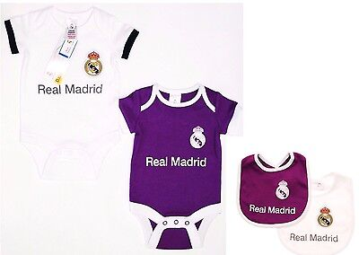 Real Madrid Fc 2017 Babies Kit Pram Suit Short Sleeve Rmcf Baby Grow Vest X 2