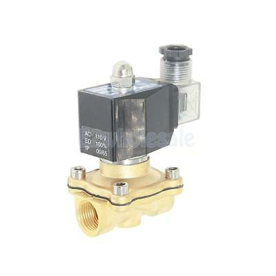 "AC110V 1/2"" Brass Electric Solenoid Valve Water Air Fuel Gas Normally Closed"