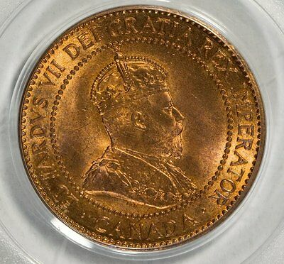BEAUTIFUL 1910 Canada 1c PCGS 64 RD RED Large Cent King Edward VII Arbor Coin