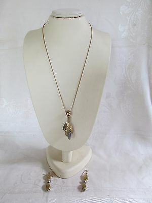 9ct Yellow and White Gold Necklace and Matching Earrings stamped 375 Modern