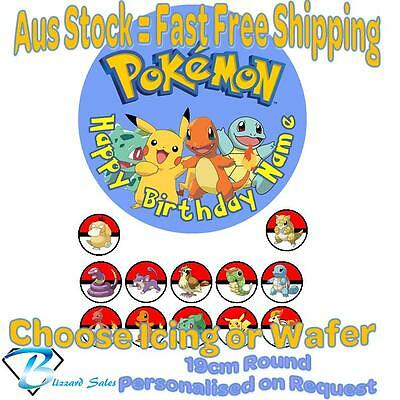 Pokemon Go 19cm Cake + 35mm Cupcake Toppers Edible Icing or Wafer Precut