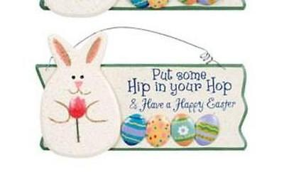"""Cute! Set of 3 Signs HIPPITY HOP HAPPY EASTER BUNNY SIGN """"Put hip in your hop-"""