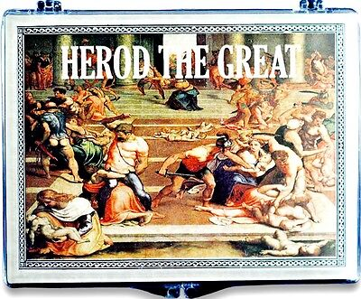 Herod the Great Bronze Prutah  2000 Year Old Coin,From Holy Land With Clear Box