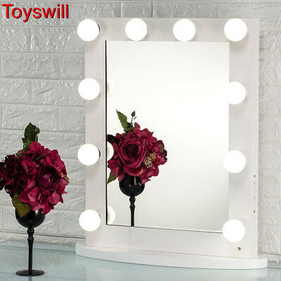 New White Vanity Lighted Hollywood Makeup Mirror with Dimmer Stage Beauty Mirror
