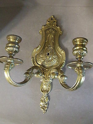 Vintage Ornate Brass Light Wall Sconce (Not Wired) (1)