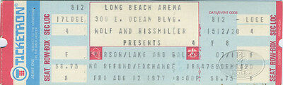 Emerson Lake & Palmer 1977 Unused Concert Ticket Long Beach