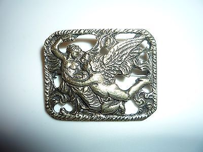 Art Nouveau Vintage Antique Handmade Sterling Cupid and Psyche Brooch Pin Beauty