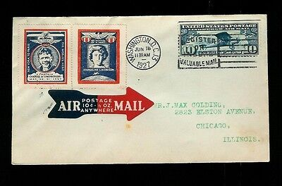 "Lindbergh C10  FDC has Charles and Evangeline ""Stamps"" Tied by Cancel 6/18/1927"