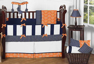 Navy Blue and Bright Orange Arrow Gender Neutral Baby Boy Girl Crib Bedding Set
