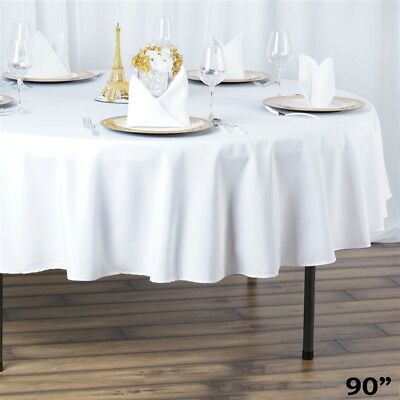 """6 ROUND 90"""" Premium POLYESTER TABLECLOTHS Wedding Catering Kitchen Home Supplies"""
