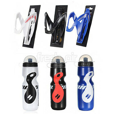650ML Mountain MTB Outdoor Bike Bicycle Cycling Water Bottle + Holder Cage Rack