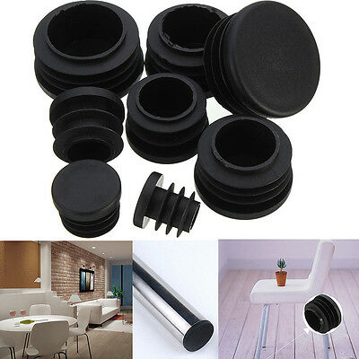 10x Black Plastic Blanking End Caps Cap Insert Plugs Bung For Round Pipe Tube WE
