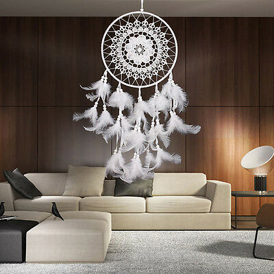 White Dream Catcher Wall Hanging Decoration Handmade Ornament Feather HOME DECOR