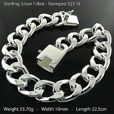 Mens Bracelet Silver 925 Sterling S/F Solid Real Curb Cuban Cuff Bling Link
