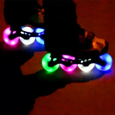 Outdoor Inline Skate Wheels LED Light Flash Colours Roller 76mm/80mm PU 90A 2ps