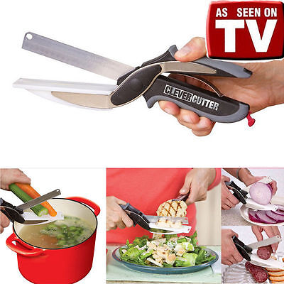 As Seen On TV 2-in-1 Cutting Board Scissors Multifunctional Knife Clever Cutter