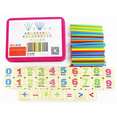Kids Mathematics Numbers Counting Learning Wooden Toys Kit Early Education Tool