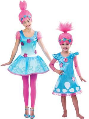 OFFICIAL UK Child Trolls Poppy Troll Fancy Dress Costume & Wig Kids Girls Outfit