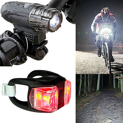 USB Rechargeable 360° Rotation Bike Bicycle Front Lamp Headlight+ Rear Light Set
