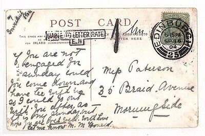 AS44 1904 GB SCOTLAND Edinburgh Postcard. Underpaid. 'Liable to Letter Rate'