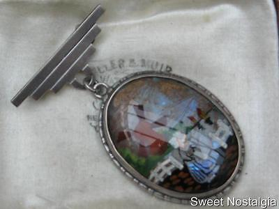 Beautiful And Rare Silver Art Deco Hand Painted Holland Butterfly Wing Brooch
