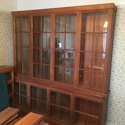 Early 20th Century Pair of Oak Glass Fronted Ex-Library Bookcases
