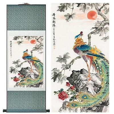 """Birds  silk painting Chinese traditional silk art painting flower paint12""""x40"""""""