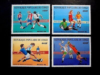 1986 Rep Du Congo France Set Worldcup Football Mexico 86 Vf Mnh N59.30