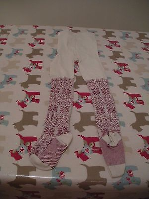 Girls Xmas Design Tights Age 4-5 Good Used Condition