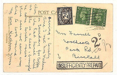 AS103 KGVI GB Aberdeen Postcard. Insufficiently Prepaid. 2d Postage due