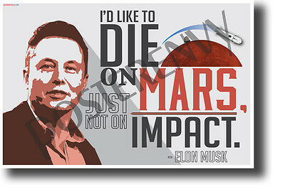 I'd like to die on Mars just not on impact - Elon Musk - NEW POSTER (fp458)
