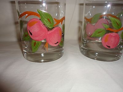 """Two Vintage Franciscan APPLE  On The Rocks Glasses , 4-1/4"""" , hand-painted"""