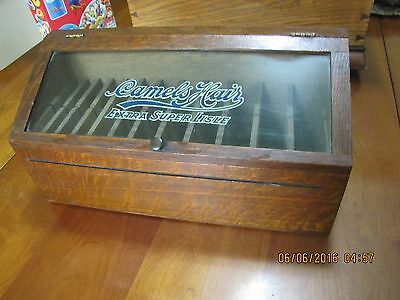 Tiger Oak Camel Hair Glass Country Store Display Case Or Showcase