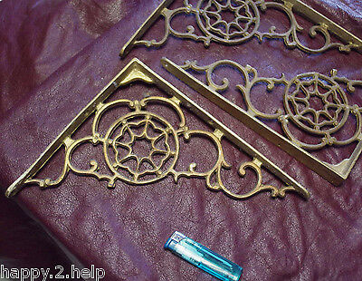 3 x Solid brass SHELF BRACKETS attractive spider web detail : Vintage items