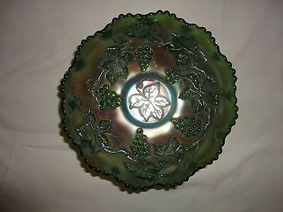 """Carnival Glass, Bowl  Green, Grape And Cable, 6 1/2"""" Outside Diameter"""