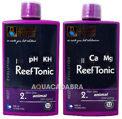 AQUARIUM SYSTEMS REEF TONIC 1 & 2 500ml BOTTLE x2 pH STABILIZER MARINE AQUARIUM
