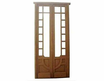 Antique Double Wooden Glass Door #1892
