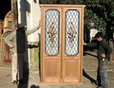Double Hand Painted Glass Door #4748