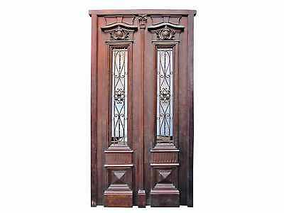 Antique Mahogany Double Front Door Wrought Iron #A1360