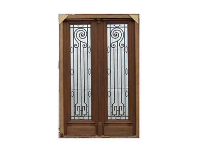 Huge Double Front Door With Wrought Iron Inserts #A1236