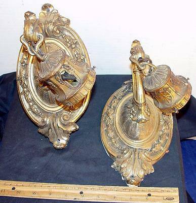 Antique Lighting Pair Of Matching Decorative Metal Sconces !