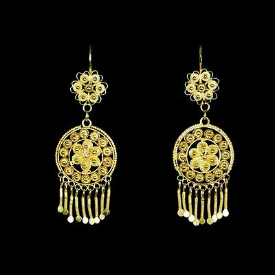Exciting handmade yellow gold filigree gypsy dangle estate earrings M-F