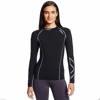 SALE SPORTS 2XU Women Compression Running Outdoor GYM Tights T Shirt Long sleeve