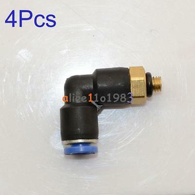 4PCS Swivel Male Elbow Air Push In Pneumatic Fitting Connecter Tube M5 OD 4mm